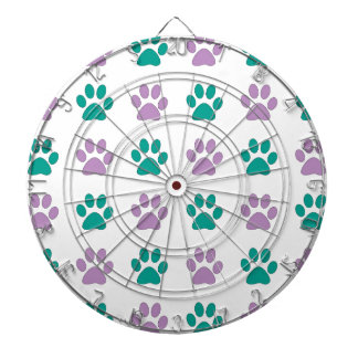 Purple and teal puppy paw prints dartboard