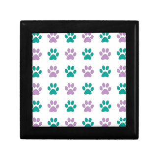 Purple and teal puppy paw prints gift box
