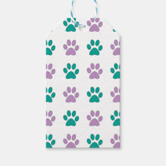 Purple and teal puppy paw prints gift tags