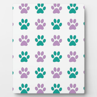 Purple and teal puppy paw prints plaque