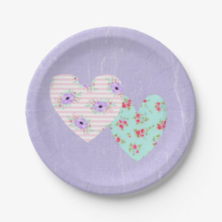 Purple and Teal Shabby Chic Party Cake Plates 7 Inch Paper Plate