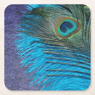 Purple and Teal Square Paper Coaster