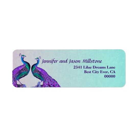 Purple and Teal Vintage Peacocks Wedding Return Address Label