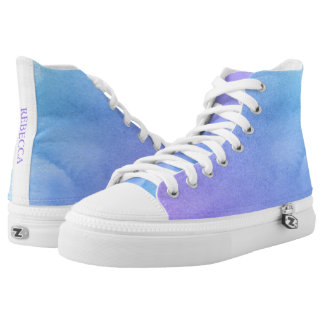 Purple and Teal Watercolor Bat Mitzvah Printed Shoes