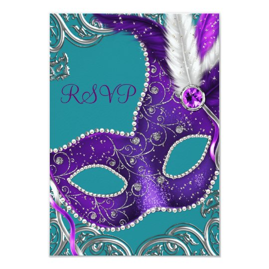 Purple and Turquoise Blue Masquerade Party RSVP Card