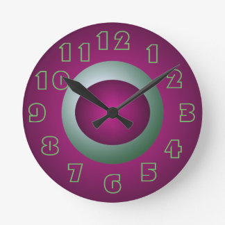 Purple and Turquoise Clock Designer Decor Fun