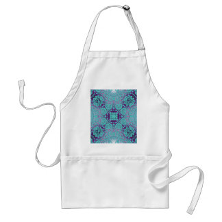 Purple and Turquoise Embossed Damask Pattern Aprons