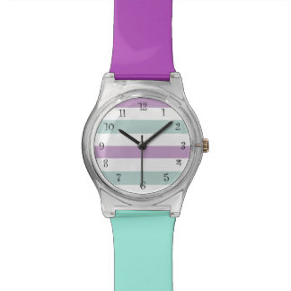 Purple And Turquoise Stripes Pattern Watch