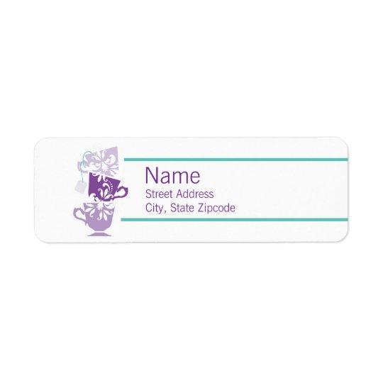 Purple and Turquoise Tea Return Address Label