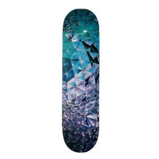 Purple and turquoise, TRIANGLE and reflections Skate Board Deck
