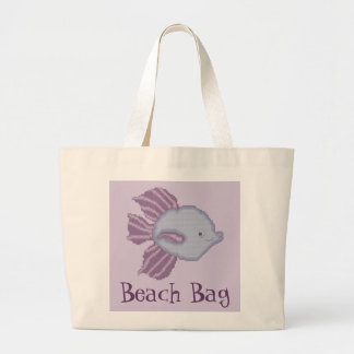 Purple and Violet Tropical Fish Beach Bag
