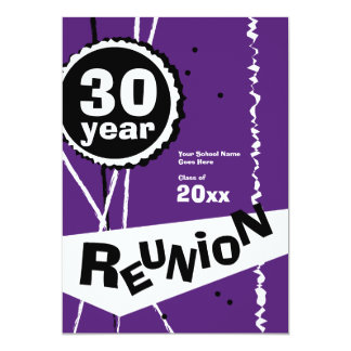 Purple and White 30 Year Class Reunion Invitation