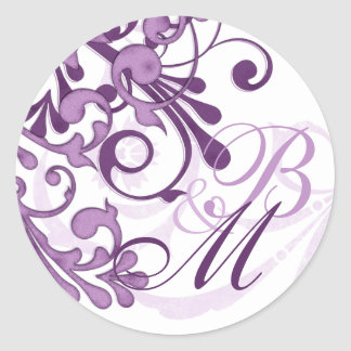 Purple and White Abstract Floral Envelope Seal Round Sticker