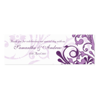 Purple and White Abstract Floral Favour Tags Pack Of Skinny Business Cards