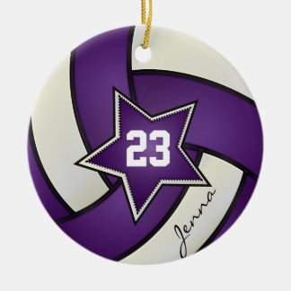 Purple and White All Star Volleyball Round Ceramic Decoration