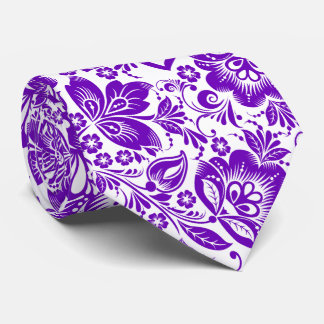 Purple And White Baroque Flowers Pattern Tie