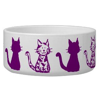 Purple and White Cats Pattern Large Pet Bowl