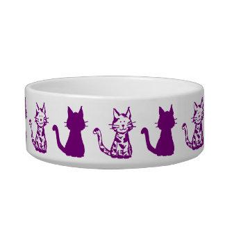 Purple and White Cats Pattern Small Pet Bowl