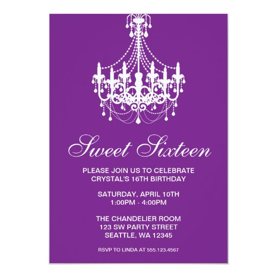 Purple and White Chandelier Sweet Sixteen Birthday Card