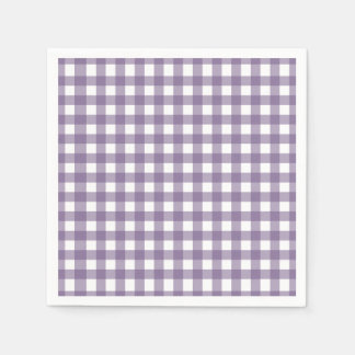 Purple and White Checked Gingham Pattern Paper Napkins