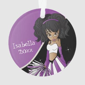 Purple and White Cheerleader Girl Ornament