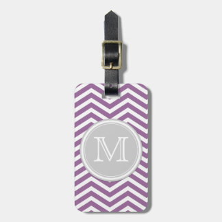 Purple and White Chevron with Monogram Bag Tag