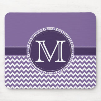 Purple and White Chevron Zigzag Monogram Wedding Mouse Pad