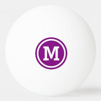 Purple and White Circle Monogram Ping Pong Ball