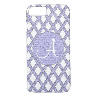 Purple and white crisscross monogram cell phone ca iPhone 7 case