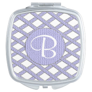 Purple and white crisscross monogram compact mirro makeup mirrors