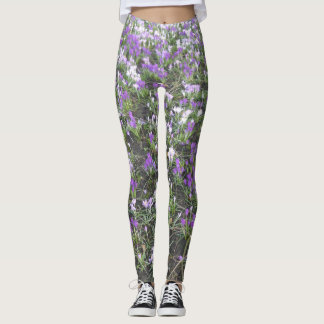 Purple and White Crocus Spring Flowers Leggings