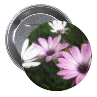 Purple and White Daisies 1 Painterly Pinback Button