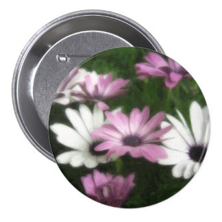 Purple and White Daisies 3 Painterly Pinback Buttons