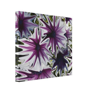 Purple And White Daisies Abstract Art, Canvas Print
