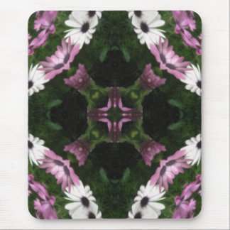 Purple and White Daisies Kaleidoscope 11 Mouse Pad