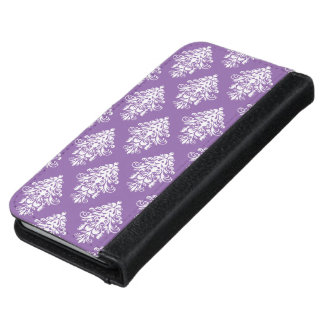 Purple and white Damask iPhone Case