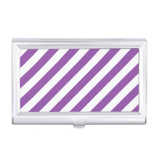 Purple And White Diagonal Stripes Pattern Business Card Case
