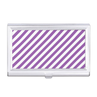Purple And White Diagonal Stripes Pattern Business Card Cases