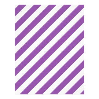 Purple And White Diagonal Stripes Pattern Flyer