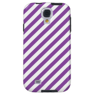 Purple And White Diagonal Stripes Pattern Galaxy S4 Case