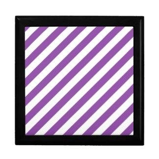 Purple And White Diagonal Stripes Pattern Gift Box