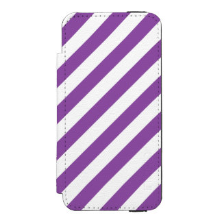 Purple And White Diagonal Stripes Pattern Incipio Watson™ iPhone 5 Wallet Case
