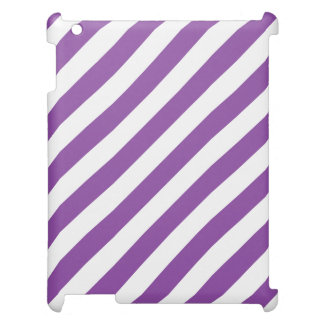 Purple And White Diagonal Stripes Pattern iPad Case