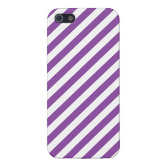 Purple And White Diagonal Stripes Pattern iPhone 5 Case