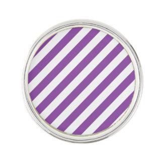 Purple And White Diagonal Stripes Pattern Lapel Pin