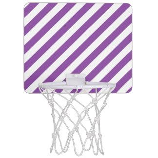 Purple And White Diagonal Stripes Pattern Mini Basketball Hoop