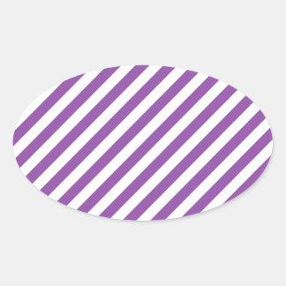 Purple And White Diagonal Stripes Pattern Oval Sticker