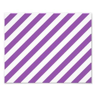 Purple And White Diagonal Stripes Pattern Photo Print