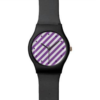 Purple And White Diagonal Stripes Pattern Watch