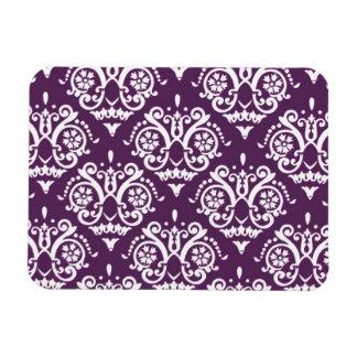 Purple and White Elegant Damask Rectangular Photo Magnet